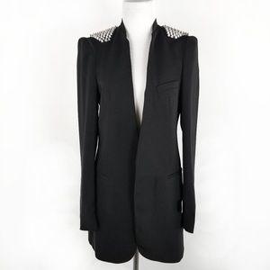 Zara Long Open Front Spiked Shoulders Black Blazer